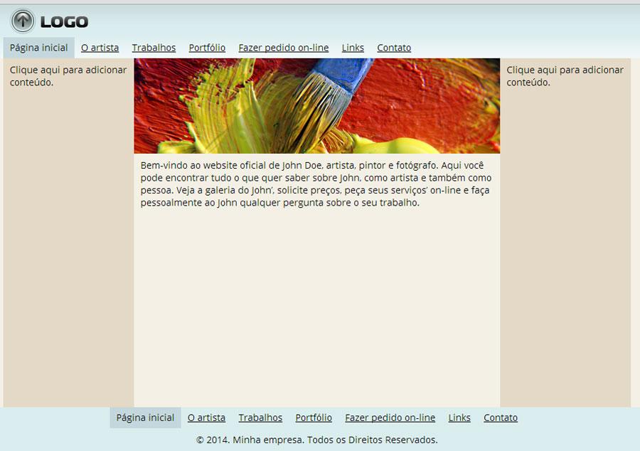 Modelo de site para Website do artista