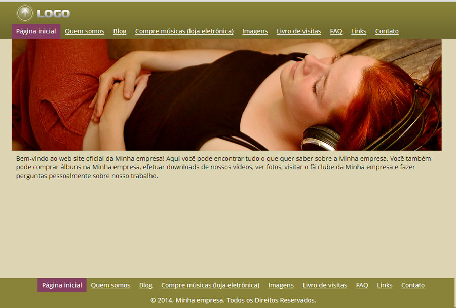 Modelo de site para Website da banda