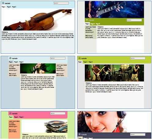 Modelos de sites para Website da banda