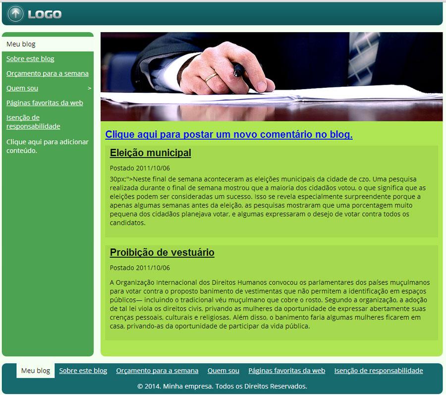 Modelo de site para Blog de Política