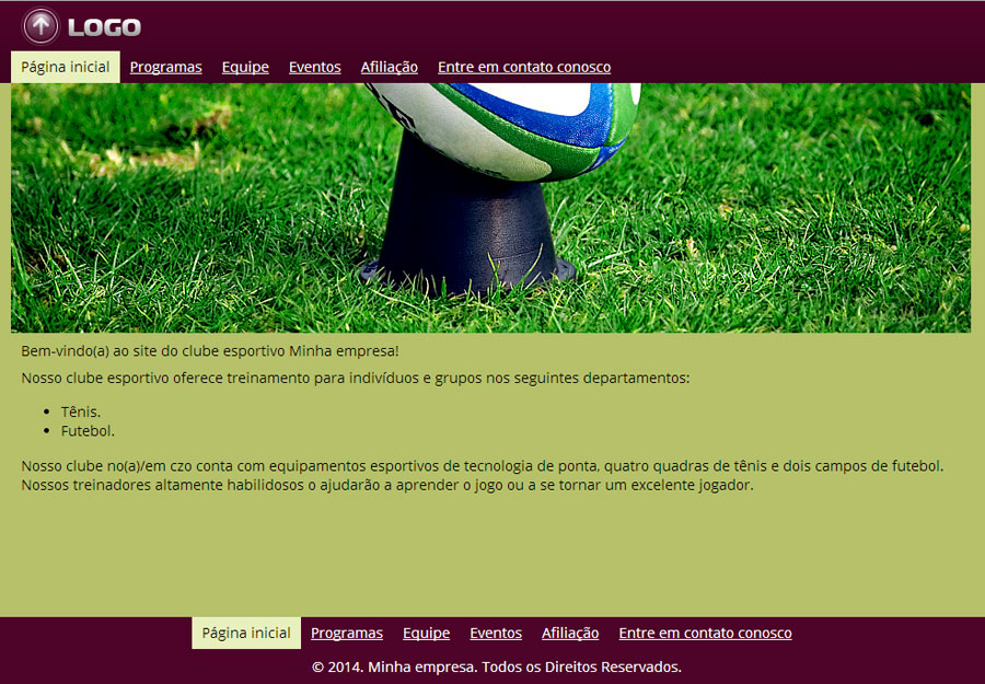 Modelo de site para Clube esportivo