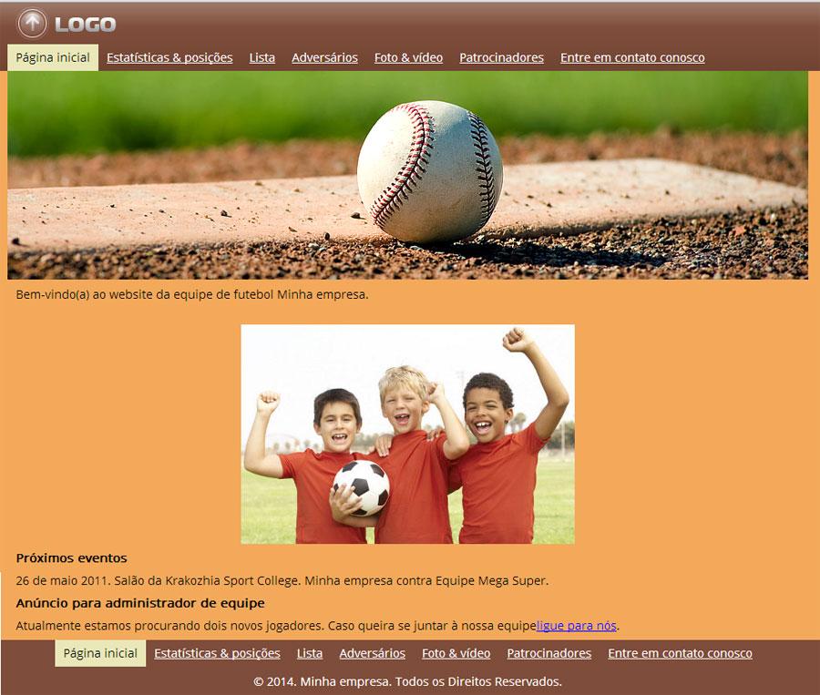 Modelo de site para Equipe de esportes ou de clube