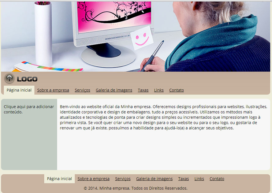Modelo de site para Estúdio de design