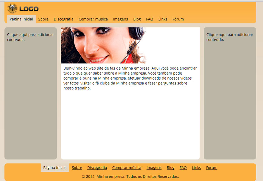 Modelo de site para Website dos fãs da banda/músico