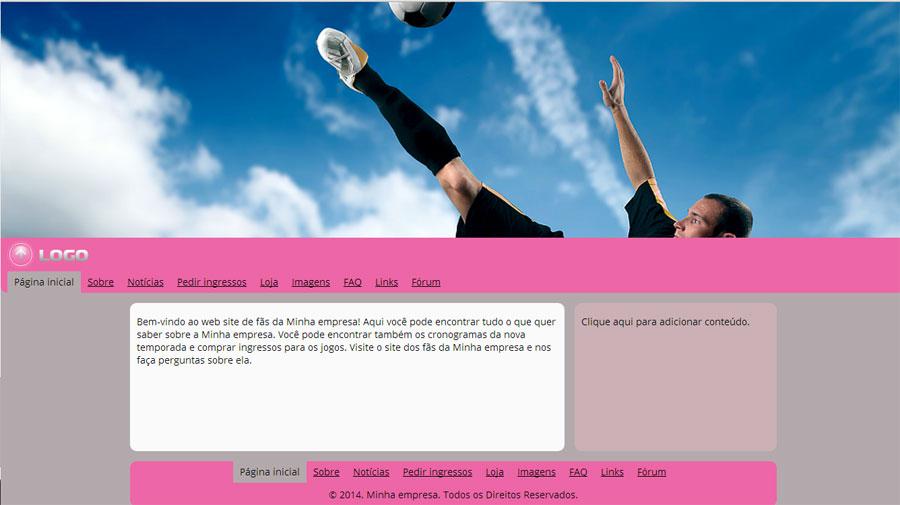 Modelo de site para Website dos torcedores de times