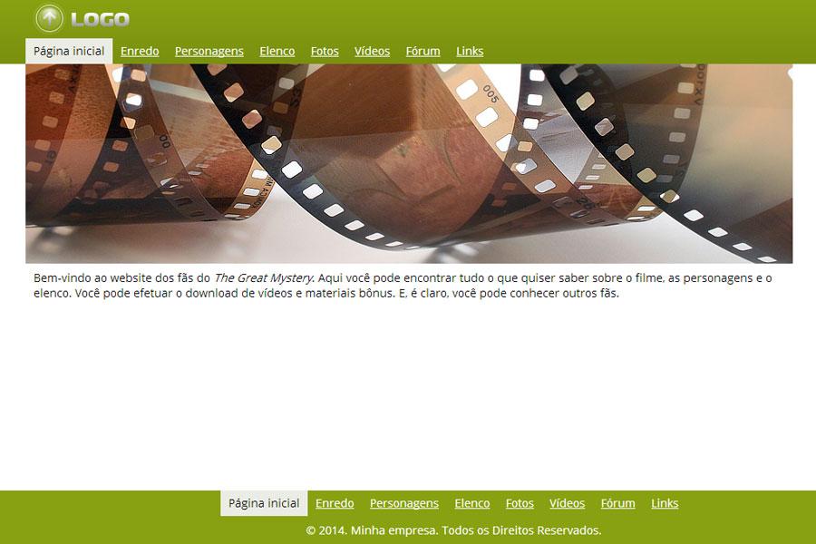 Modelo de site para Fãs de Filmes