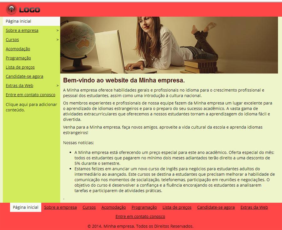 Modelo de site para Escola de Idiomas