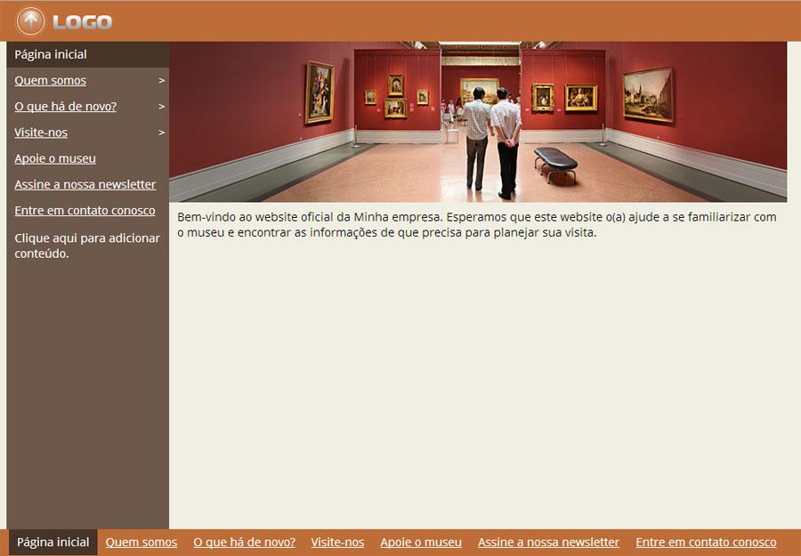 Modelo de site para Museu, Galeria ou Exposição