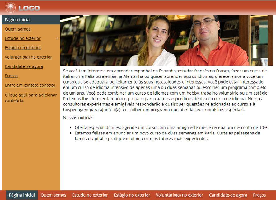 Modelo de site para Organização de viagens para cursos de idiomas