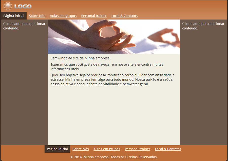 Modelo de site para Estúdio de Yoga e Pilates