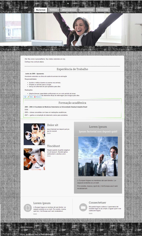 Modelo de site para currículo ou Perfil de Trabalho