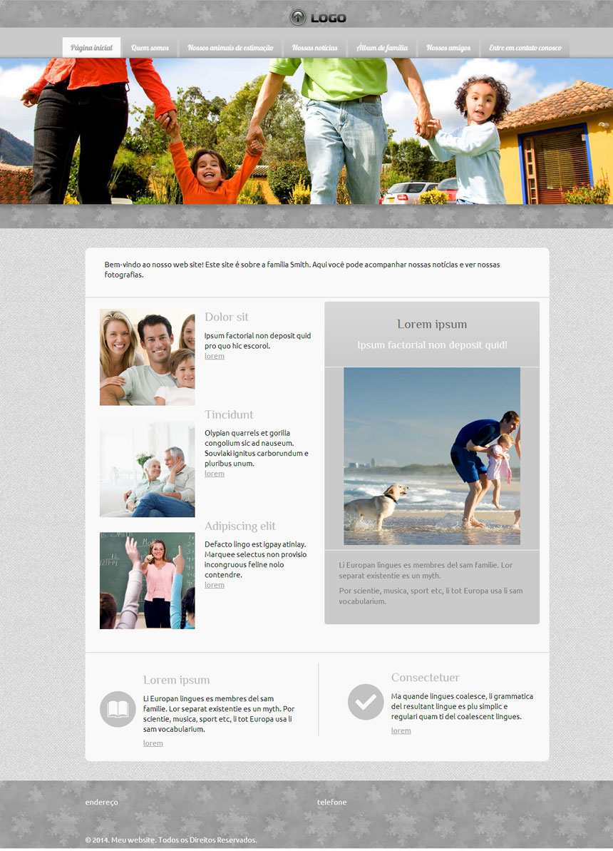 Modelo de site para Website pessoal ou da família