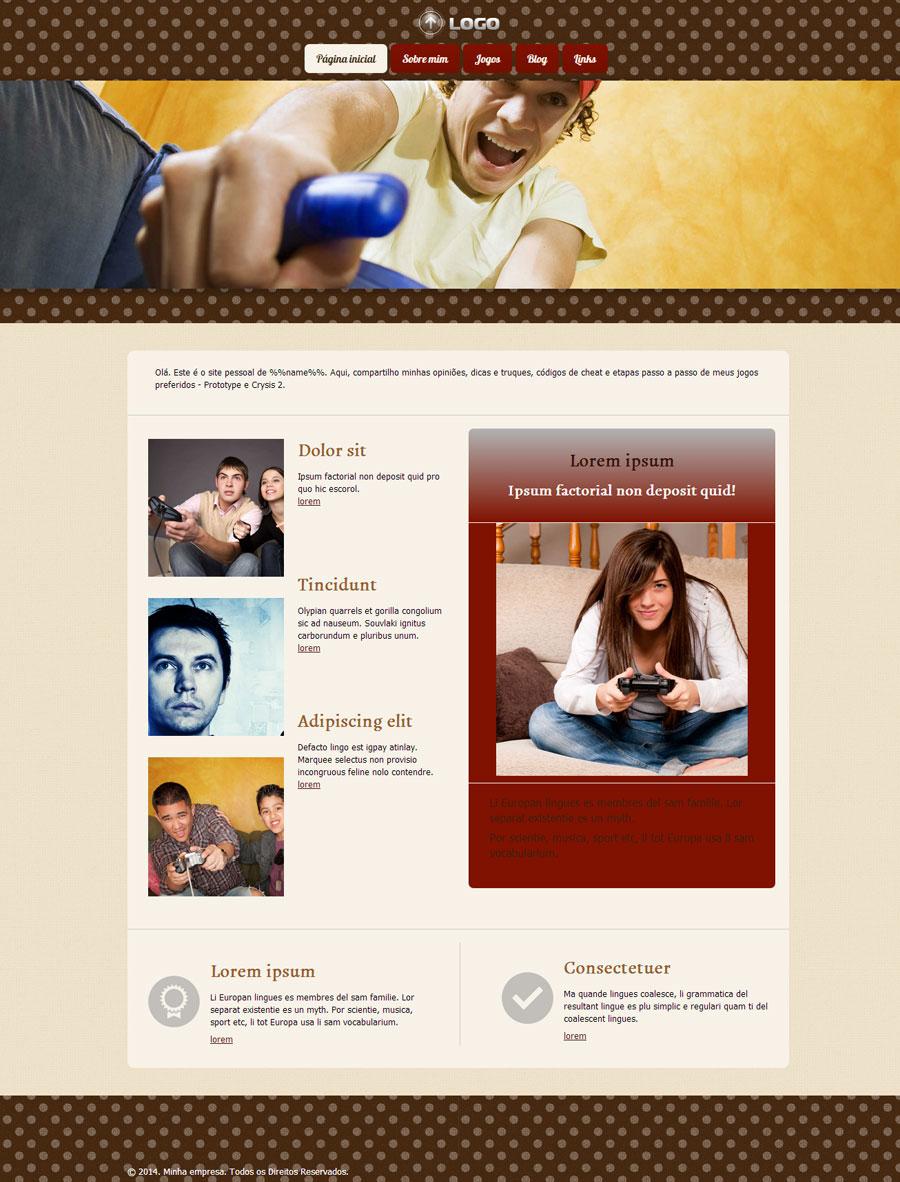 Modelo de site para Website para fãs de videogames