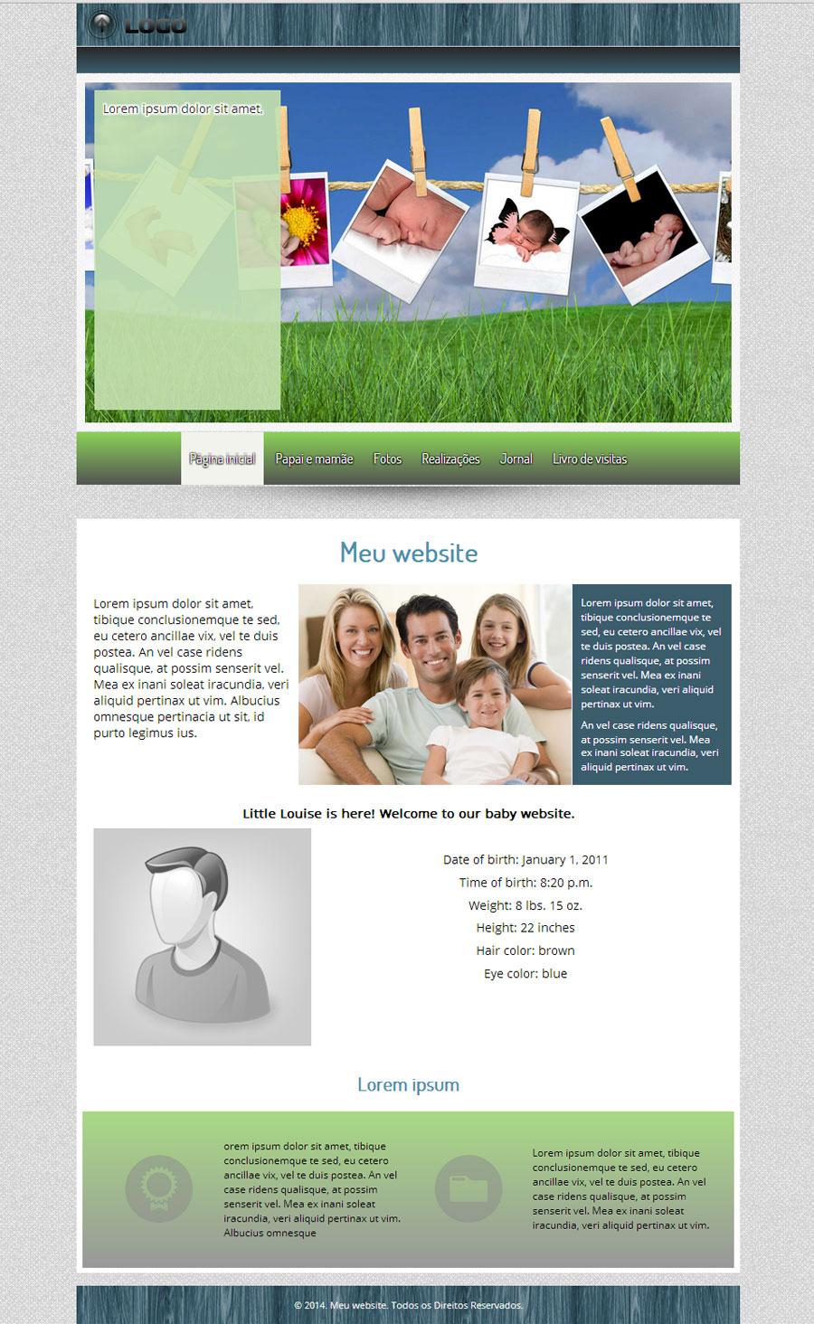 Modelo de site para Anúncio de nascimento
