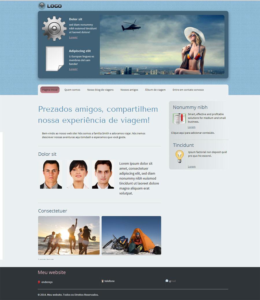 Modelo de site para Blog de viagens