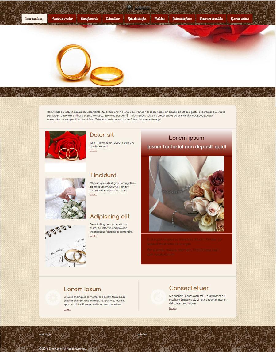 Modelo de site para Noivado e Casamento